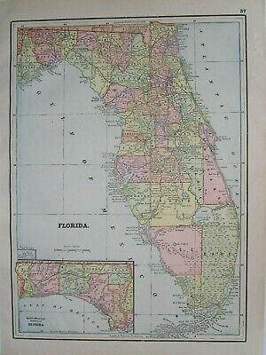 FL 1892 Early Antique FLORIDA Map Art Print Decor. 19th Century 1800s. Railroads - $13.50