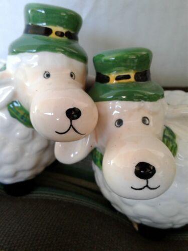 IRISH~~  Sheep Salt & Pepper  Shamrock Set