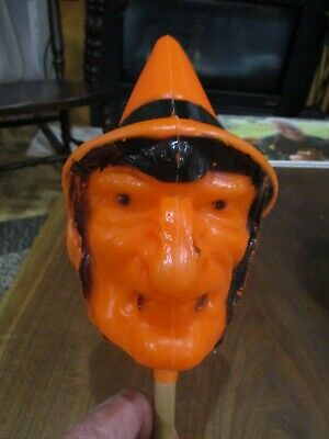 Vintage Bayshore Halloween Witch Head Blow Mold Rattle shaker Excellent shape.