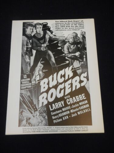 BUCK ROGERS 1939 R49 Serial Pressbook Buster Crabbe Sci-Fi FILMCRAFT fine