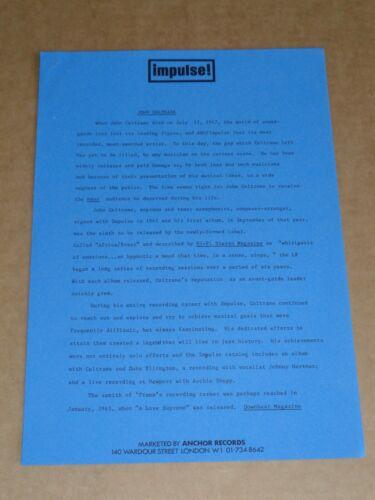 John Coltrane 1973 UK Impulse! Records Press Release