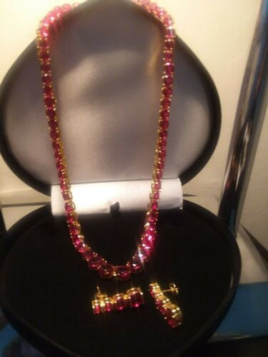 14K GOLD CLAD  96CTW LCS RED RUBY TENNIS NECKLACE 18 INCH +  BONUS