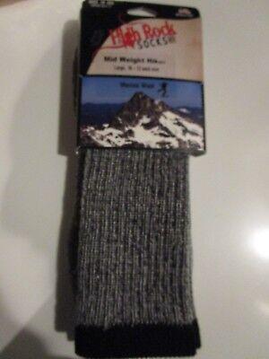 1 Pair  Large High Rock Mid Weight Hiker Merino Wool Socks 10-13  Made in USA