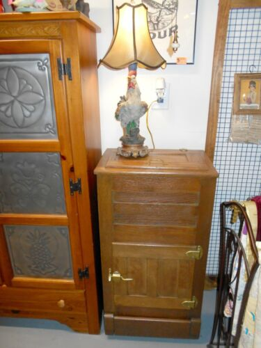 "Antique Oak Ice Box 39"" Tall"