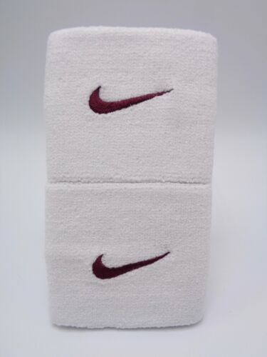 "Nike Swoosh Wristbands White/Deep Maroon 3"" Men"