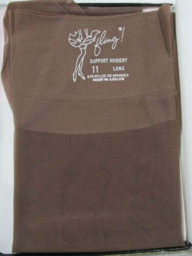 1PR VINTAGE FLING ACTIVE SHEER  RHT SUPPORT NYLON STOCKINGS SIZE 11 LONG TAUPE