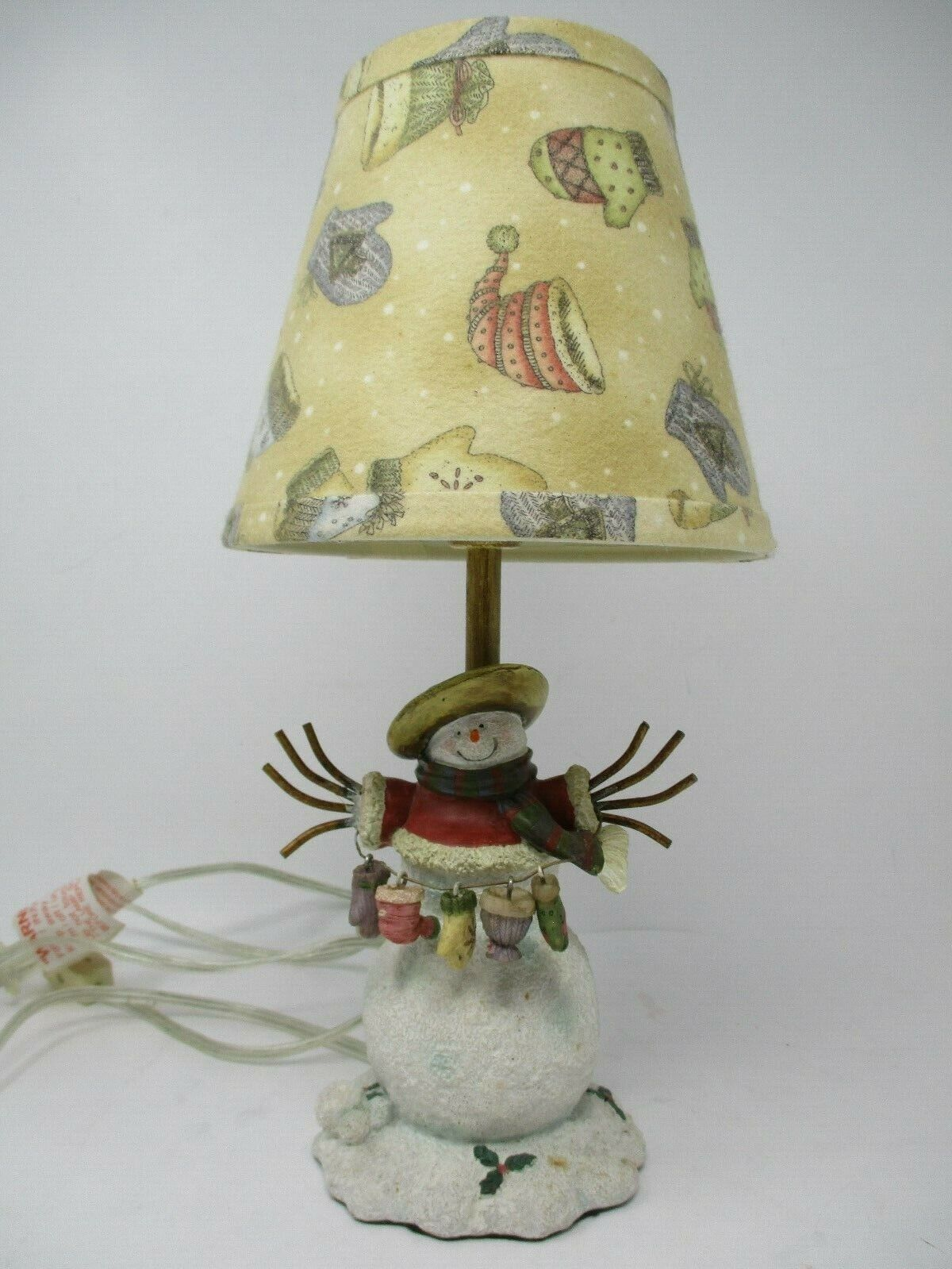 Resin Snowman Lamp With Flannel Shade