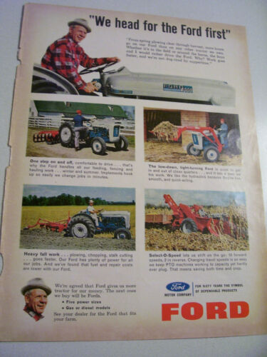 VINTAGE FORD TRACTOR ADVERTISING -1964 4000 - BLUE & WHITE TRACTORS