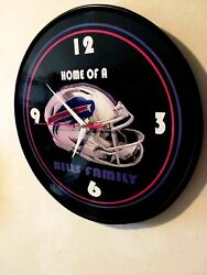 BUFFALO BILLS - 12 INCH QUARTZ WALL CLOCK - MANCAVE BAR FREE SIGN FREE SHIP