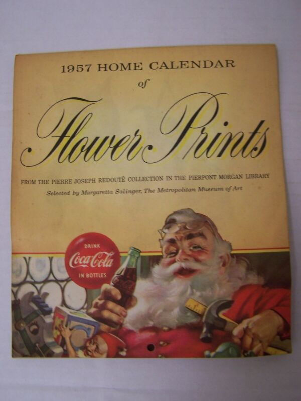 1957 COCA-COLA ADVERTISING WALL CALENDAR OF FLOWER PRINTS FROM MORGAN LIBRARY