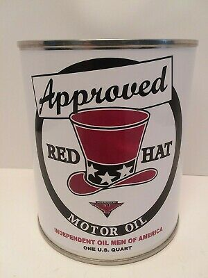 - Vintage Red Hat Motor Oil Can 1 qt. - (Reproduction Tin Collectible)