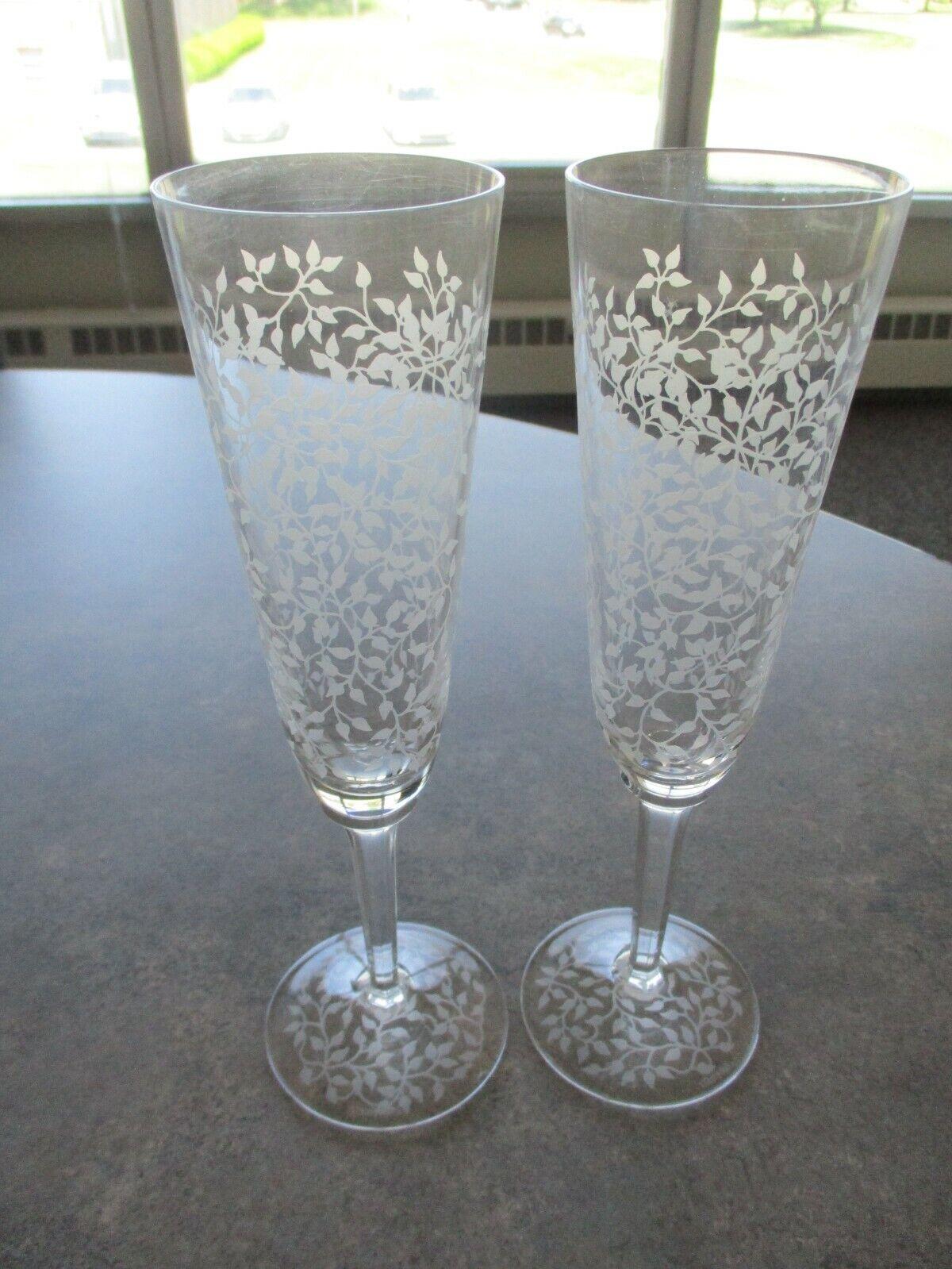 Villeroy & Boch Etched Crystal Champagne Flutes Set Of 2