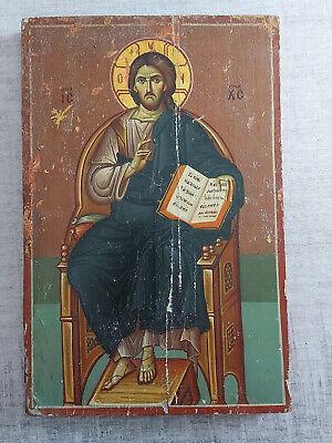 Antique Greek Byzantine Icon Jesus Christ Hand painted!!!