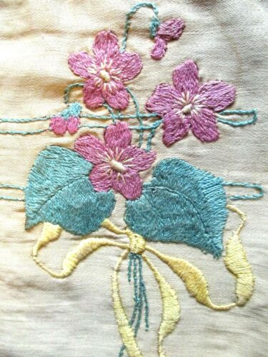 ARTS & CRAFTS 1900s Antique EMBROIDERED Wild VIOLET LINEN Pillow CASE Pillowcase