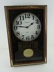 Vintage Wood Glass Verichron Quartz Regulator Wall Clock Pendulum