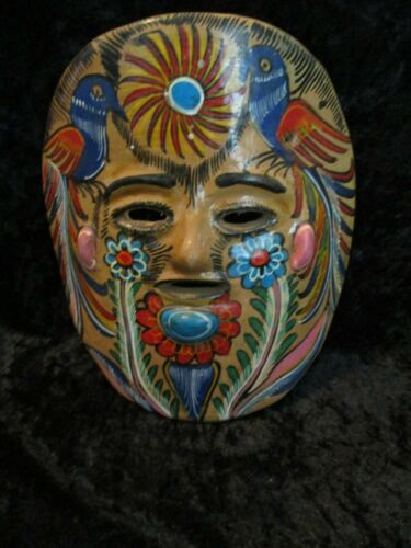 Vintage Mexican Folk Art Pottery Clay Hand Painted Wall Hanging Mask w/2 Parrots