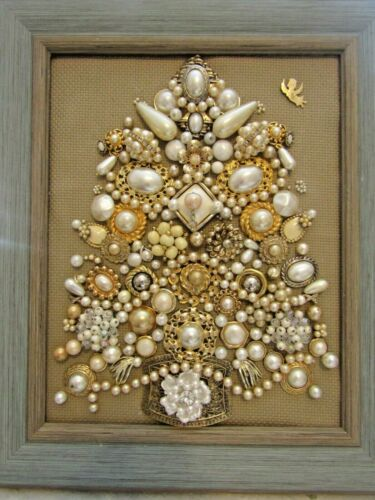 Vintage Jewelry Art. Christmas tree from faux pearls and goldtone. 8x10 framed.