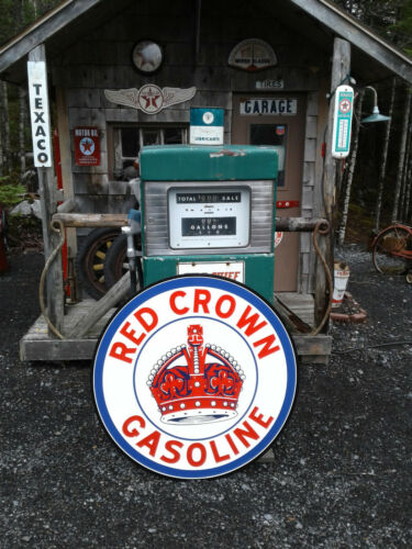 XTRA LARGE 37 INCH VINTAGE STYLE RED CROWN GASOLINE SIGN
