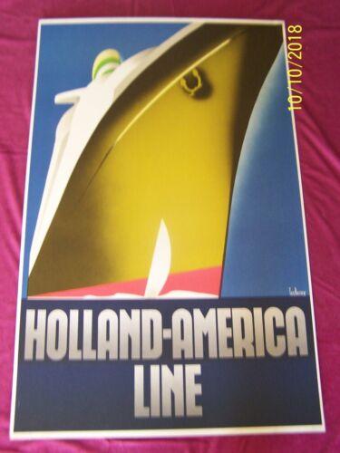 """ HOLLAND AMERICA LINE "" Mounted 1982 23""x36"" Travel Poster - Ten Broek art"