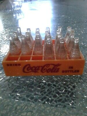 Rare Vintage Miniature Coca Cola Bottles in Yellow Crate