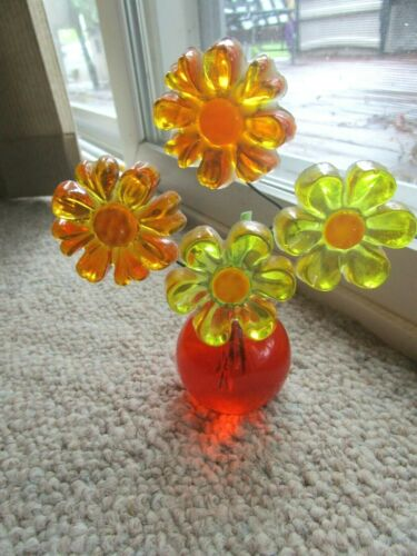 Vtg Lucite Acrylic Flowers Decor Mid Century Orange Yellows