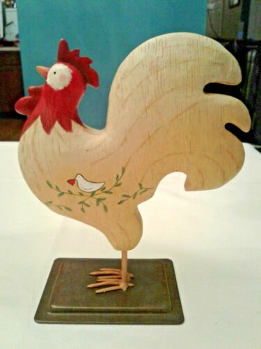 """Russ Berrie Hand Painted Wood Rooster W / Peace Dove 7.5"""" Farm Decor Figure"""