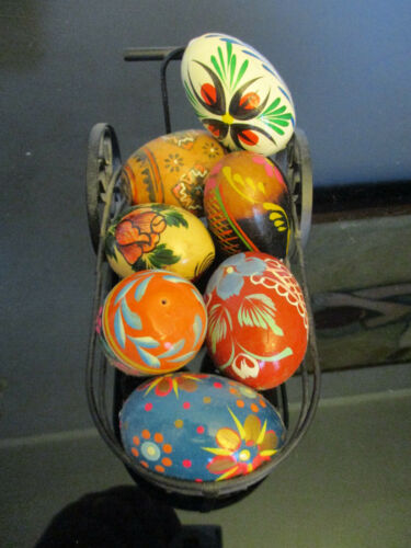 Vintage Estate Polish Easter Eggs Hand Painted Wood with Iron Cart!