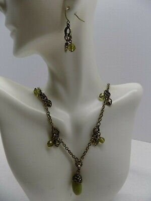 Antiqued gold tone green glass beaded necklace & earrings           .99 CENTS NR
