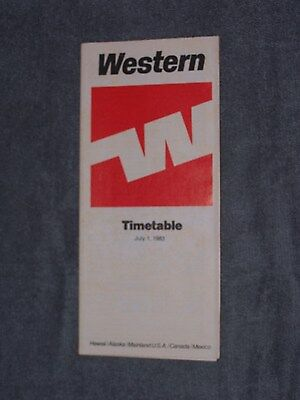 WESTERN AIR LINES - TIMETABLE - JULY 1,1983 -