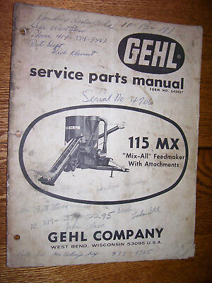 Vintage Gehl Co Parts Manual- 115 Mx Feed Grinder - Mixer- 1968