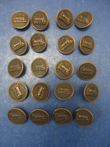Set of 20 Vintage Nouveaute Railroad Metal Shank Buttons Train Locomotive