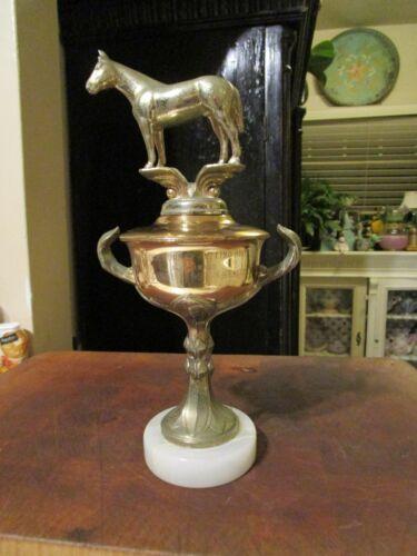 Vintage Art Deco 1957 Horse Cowboy Trophy With Metal Horse & Marble Base