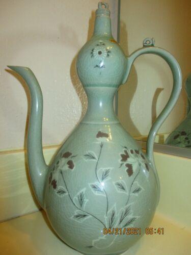 Vintage Rare Korean Celadon Floral Teapot  (signed)