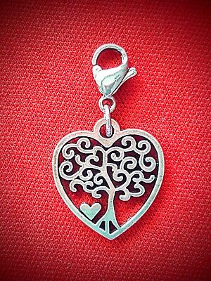 HEART CLIP ON DANGLE CHARM w LOBSTER CLASP ~ FAMILY TREE MOM LOVE BIRTHDAY GIFT