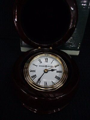 HOWARD MILLER CHERRY WOOD DESK CLOCK IN WORKING CONDITION NEW IN BOX -