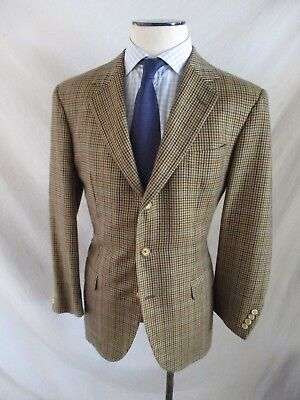 100% cashmere pure tan brown plaid three 3 button blazer sport coat jacket 40S Cashmere Three Button Sport Coat