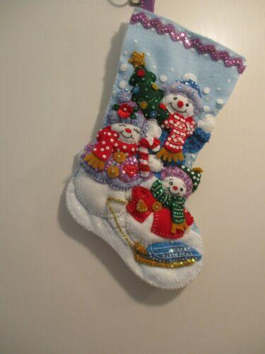 "Bucilla Finished  Felt Christmas Stocking - ""SNOW FAMILY PORTRIAT"""