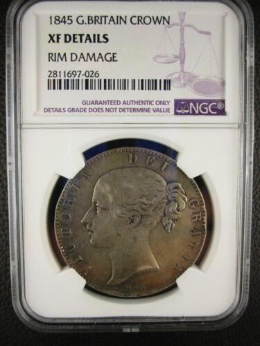 1845 Great Britain Crown, Ngc Xf Details - Rim Bumps