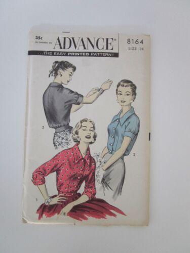Vintage Sewing Pattern - Advance - #8164 - Blouse - Size 14 - Uncut