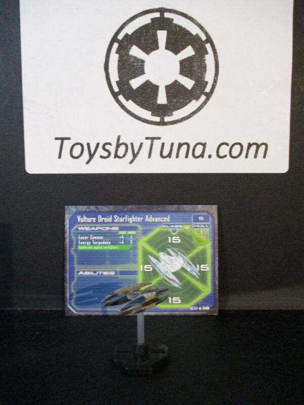 Star Wars Miniatures Starship Battles Vulture Droid Starfighter Advanced w/Card