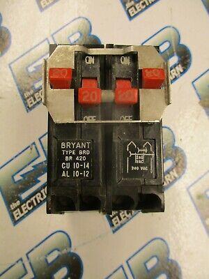 Bryant Br420 Tandem 2 20 Amp 2 Pole 240 Volt Circuit Breaker- Warranty