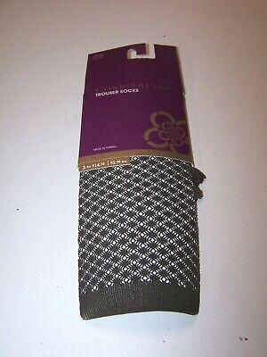 Charter Club Women's Trouser Socks Small Diamond Pattern Chocolate One Size Diamond Pattern Trouser Socks