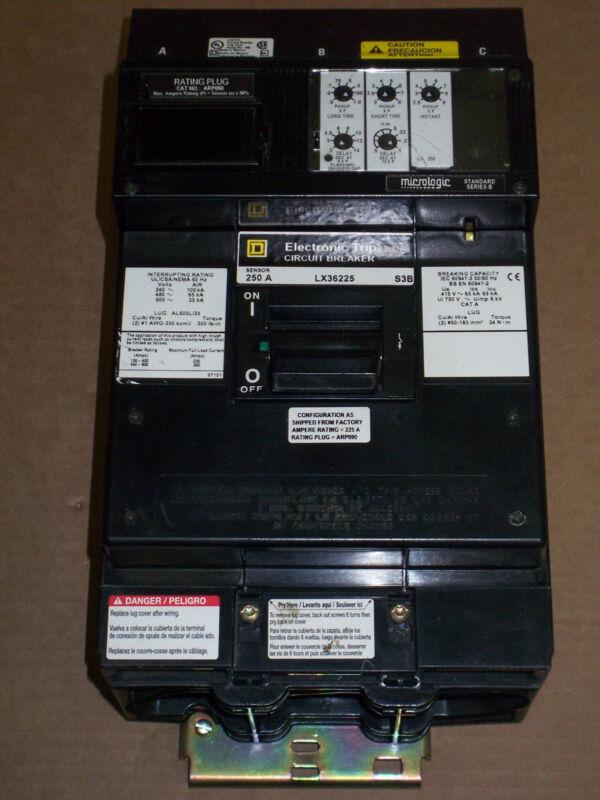 SQUARE D LX 3 pole 250 amp Sensor 600v 90% LX36225 LSI LX36250 Circuit Breaker