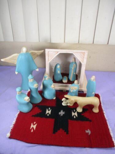 Vintage 1991 Jack Black SIGNED 12 Piece Navajo Pottery Nativity Scene Set Angel