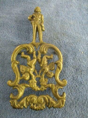 Antique cast brass figural Trivet Sailor and cherubs  19th Century