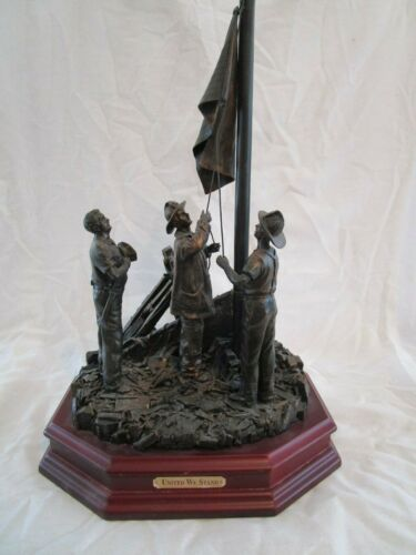 """911 Statue """"United We Stand"""" Two Firefighters & Police Officer Raising Flag"""