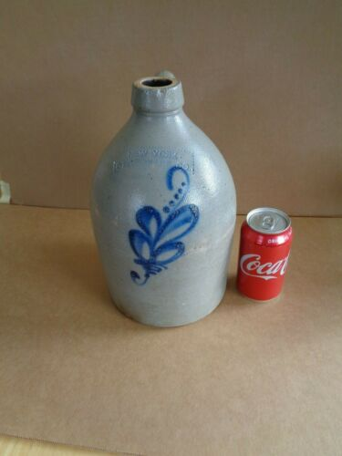 Cobalt Blue Decorated 1gallon Jug N.Y. Stoneware Co.