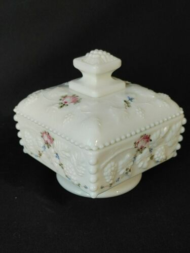 Westmoreland Milk Glass Beaded Grape Covered Candy Dish Hand Painted Pink Roses