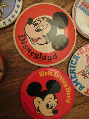 Lot of 2 Vintage 1970's Walt Disney World Mickey Mouse Pin Back Button Souvenir