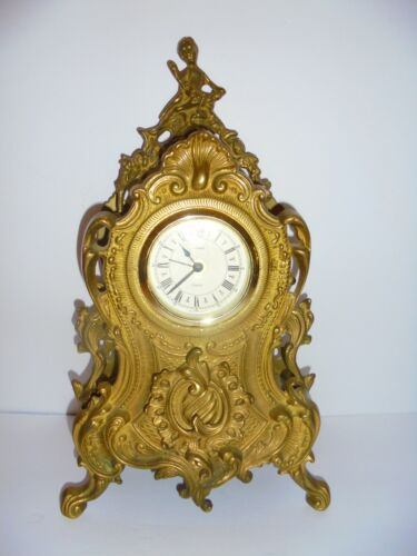 LARGE VINTAGE URANIO BRASS BAROQUE-STYLE MANTEL CLOCK MADE IN WEST GERMANY